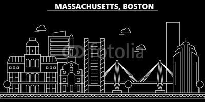 400x200 Boston Silhouette Skyline. Usa