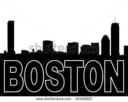 450x358 Boston Skyline Black Silhouette On White