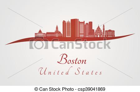 450x296 Boston Skyline In Red And Gray Background In Editable Vector File.