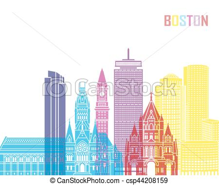 450x380 Boston V2 Skyline Pop. Boston V2 Skyline Pop In Editable Vector File.