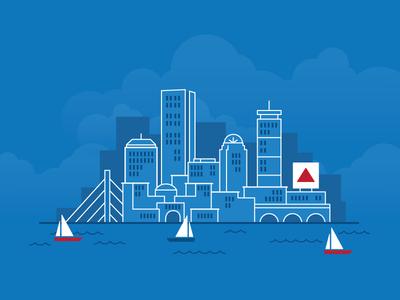 400x300 Boston Skyline Detailed Silhouette Trendy Vector Illustration