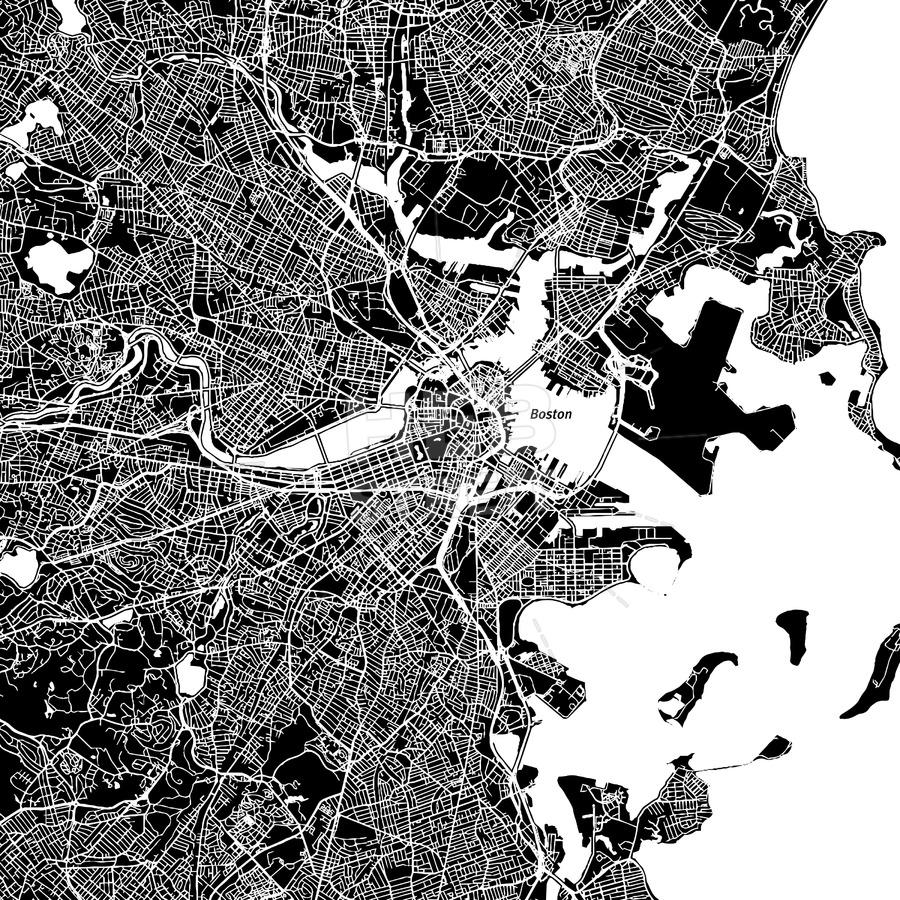 900x900 Boston, Massachusetts, Downtown Map, Dark Hebstreits