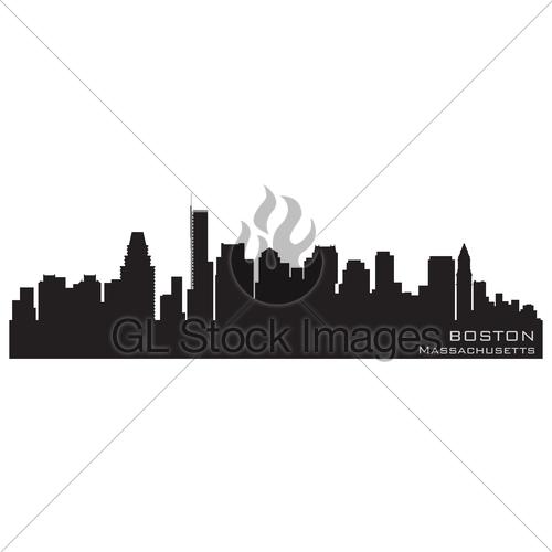 500x500 Boston, Massachusetts Skyline. Detailed Vector Silhouette Gl