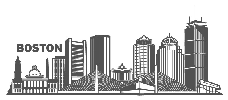 800x353 Boston Cityscape Vector Design By Wall Decal Shop