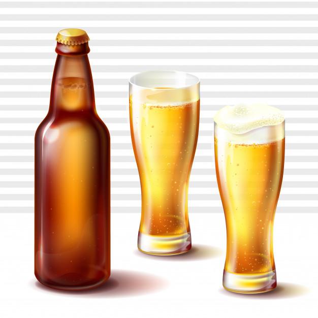 626x626 Botella De Cerveza Y Vasos Weizen Con Vector De Cerveza