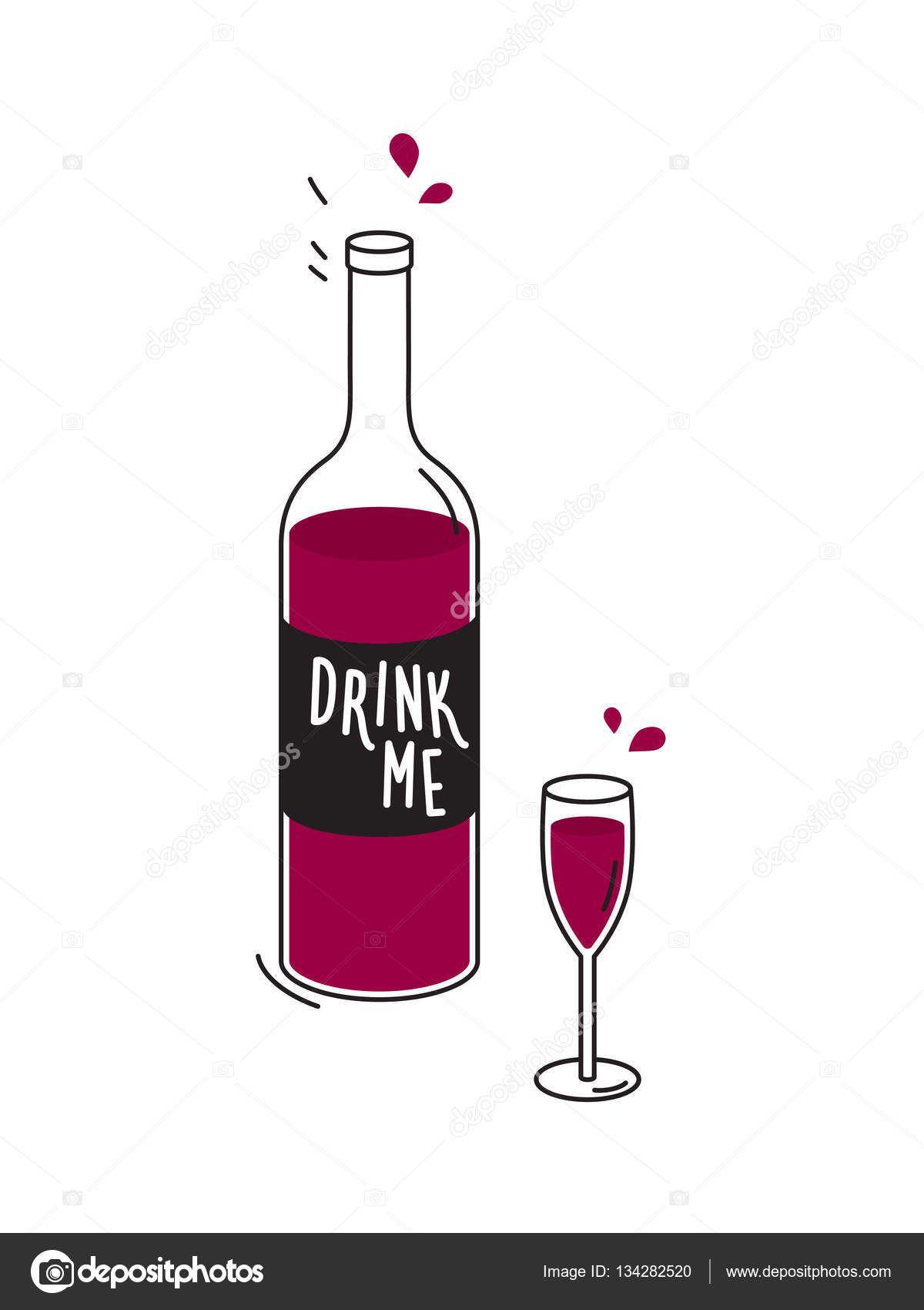 1200x1700 Botella De Vino Tinto Y Copa De Vino. Doodle De Dibujo. Vector De