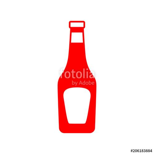 500x500 Icono Plano Botella De Cristal De Ketchup En Color Rojo Stock