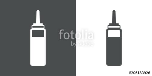 500x250 Icono Plano Botella De Plastico De Ketchup En Gris Y Blanco Stock
