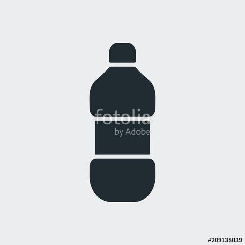 500x500 Icono Plano Botella De Plastico En Fondo Gris Stock Image And