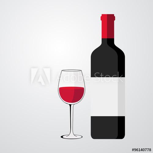 500x500 Icono Plano Botella De Vino Con Copa