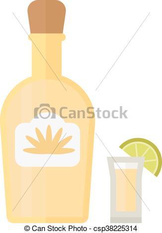 326x470 Tequila, Vector, Illustration., Botella. Alcohol., Mexicano
