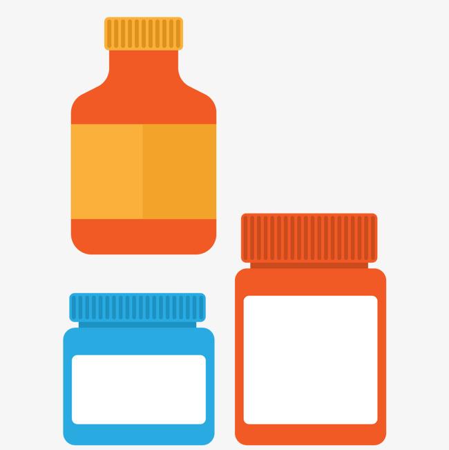 650x651 Vector Flattened Color Hospital Medicine Bottle, Color Vector