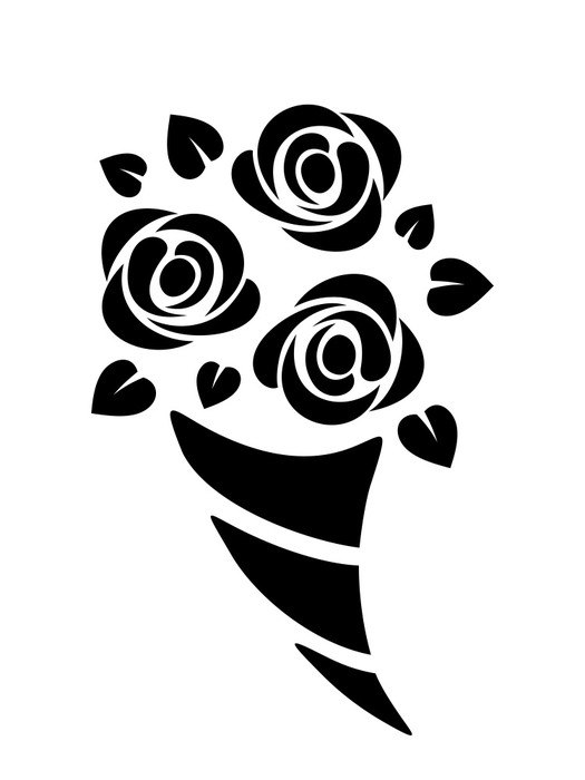 525x700 Black Silhouette Of Roses Bouquet. Vector Illustration. Wall Mural