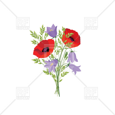 400x400 Bluebells And Poppy Bouquet Vector Image Vector Artwork Of