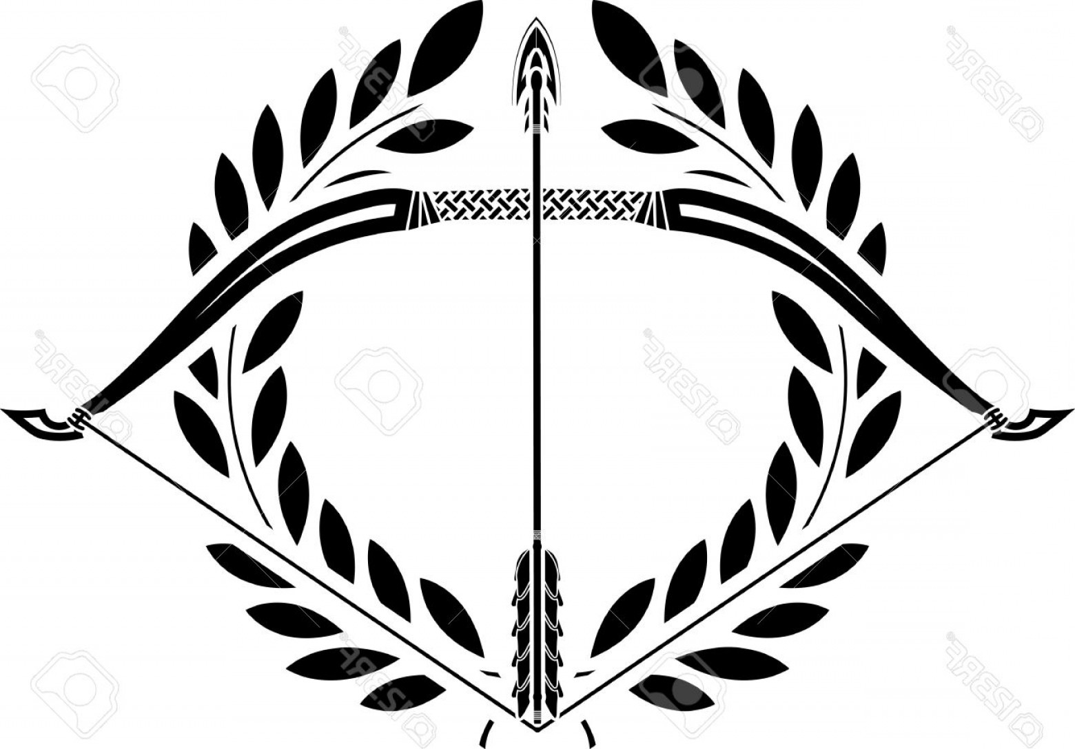 1560x1088 File Bow And Laurel Wreath Stencil Illustration Stock Vector