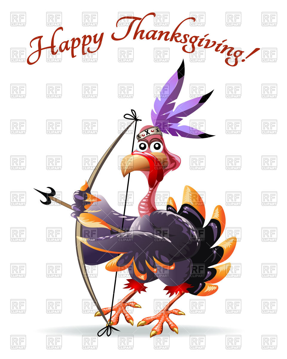 960x1200 Frame With Cartoon Indian Turkey With Bow And Arrow Vector Image