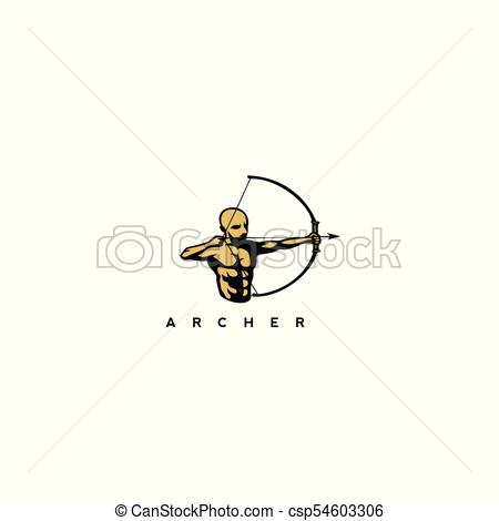 450x470 Golden Man With Bow And Arrow Vector Illustration. Golden Man With
