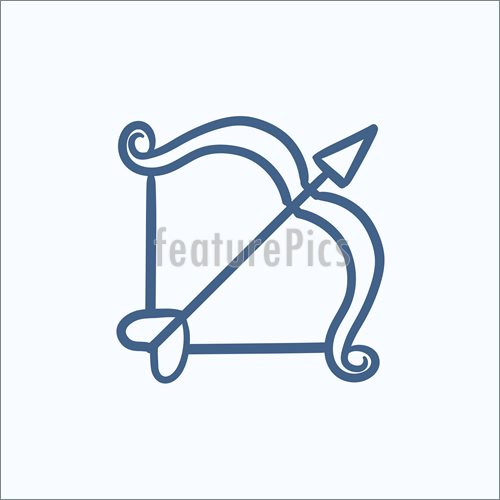 500x500 Bow And Arrow Sketch Icon. Illustration