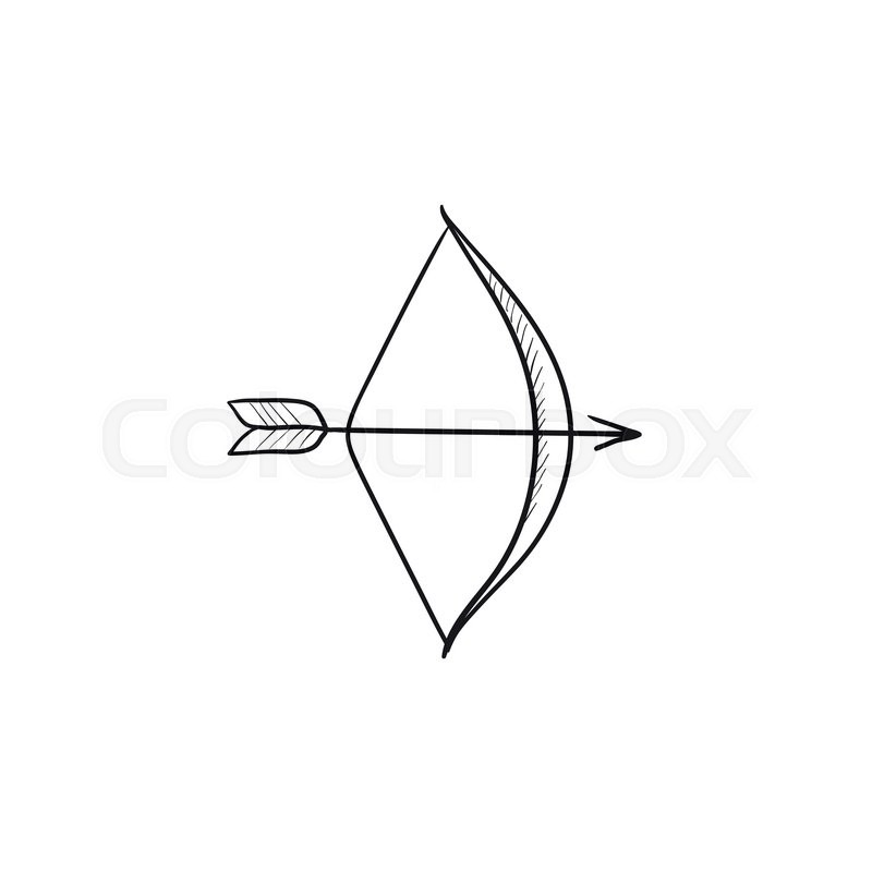 800x800 Bow And Arrow Vector Sketch Icon Isolated On Background. Hand