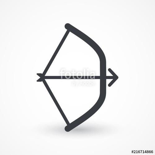 500x500 Bow Arrow Vector Icon. Hunting Sport Equipment Symbol. Archer