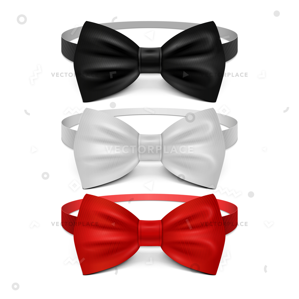 1000x1000 Realistic White Black Red Bow Tie Vector Illustration 43841