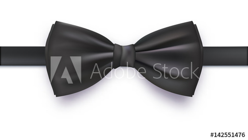 500x283 Realistic Black Bow Tie, Vector Illustration, Isolated On White