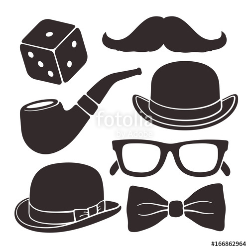 500x500 Silhouettes Of Mustache, Glasses, Hat Bowler, Smoking Pipe And Bow