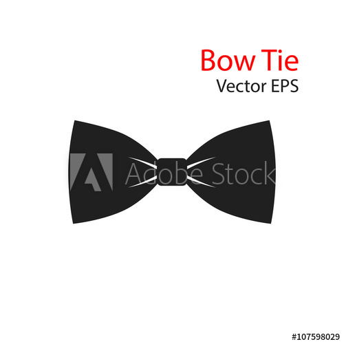 500x500 Bow Tie Vector Flat Icon Isolated On White Background.