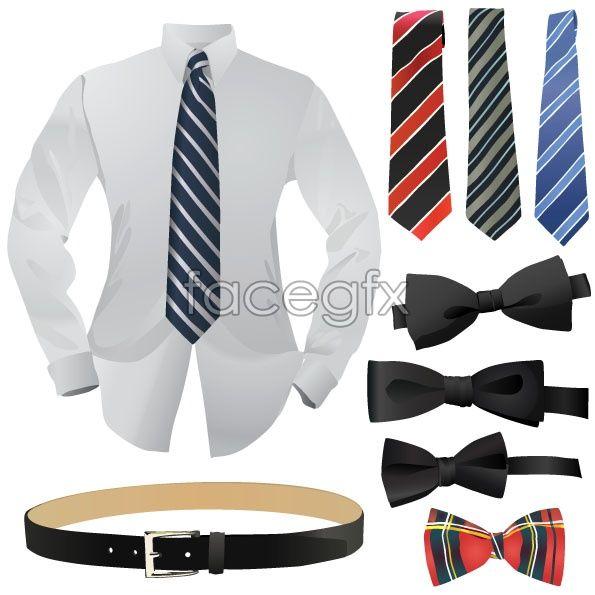 595x595 Dress Shirt Tie Belt Man Bow Tie Vector Life Vector