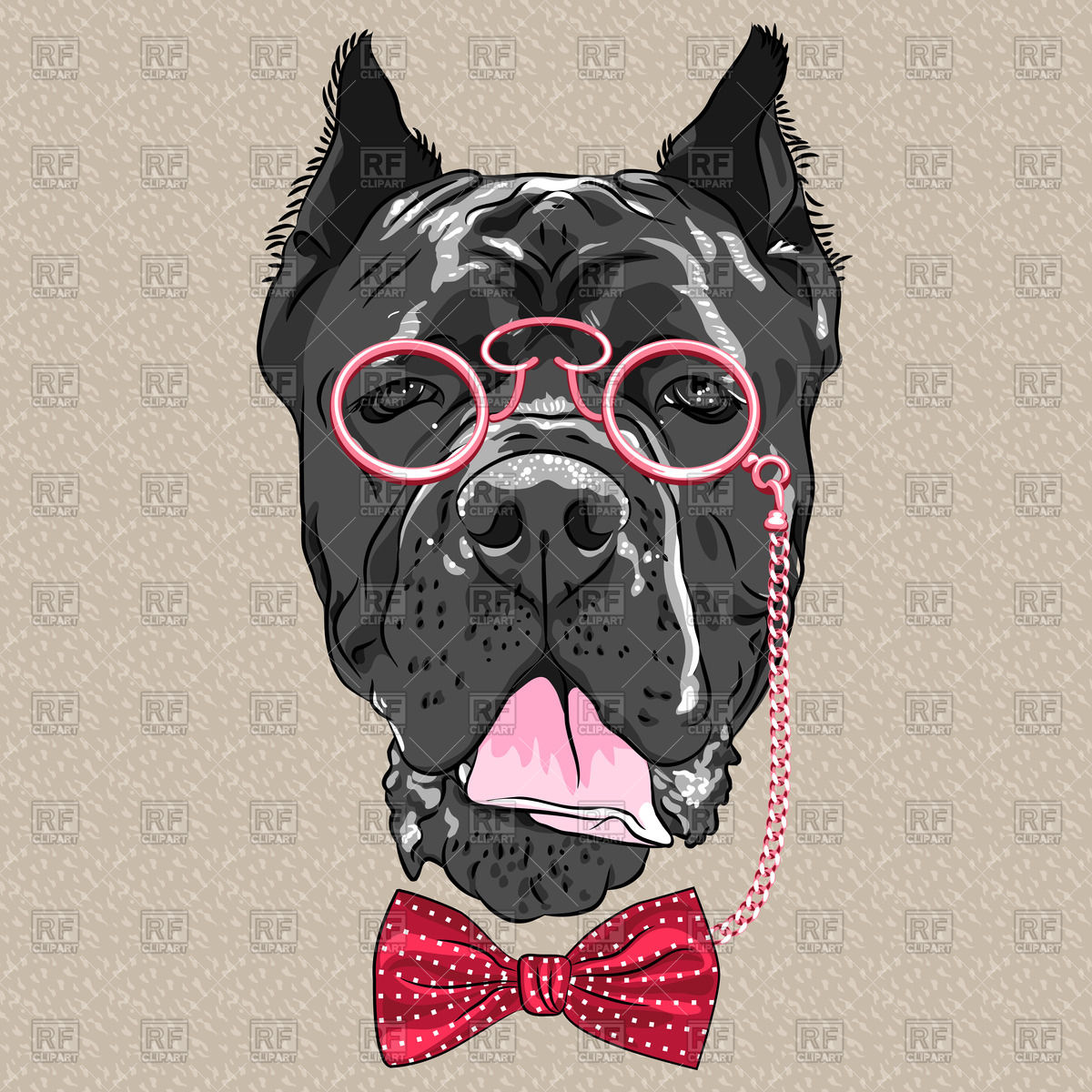 1200x1200 Hipster Dog Of Cane Corso Breed In A Glasses And Bow Tie Vector