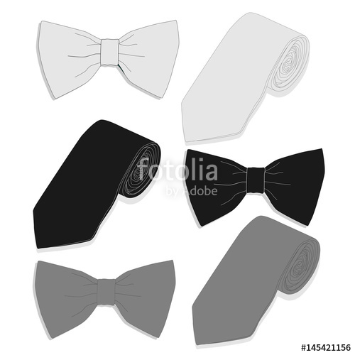 500x500 Tie Collection. Bow Tie. Vector. Stock Image And Royalty Free