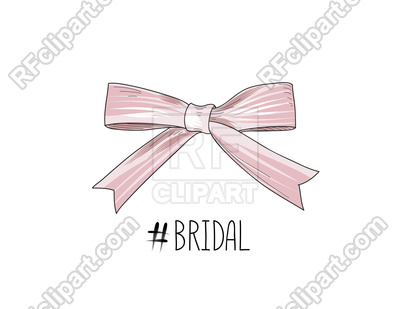 400x309 Bow Drawn. Gentle Cream Pink Bow Ribbon. Vector Image Vector
