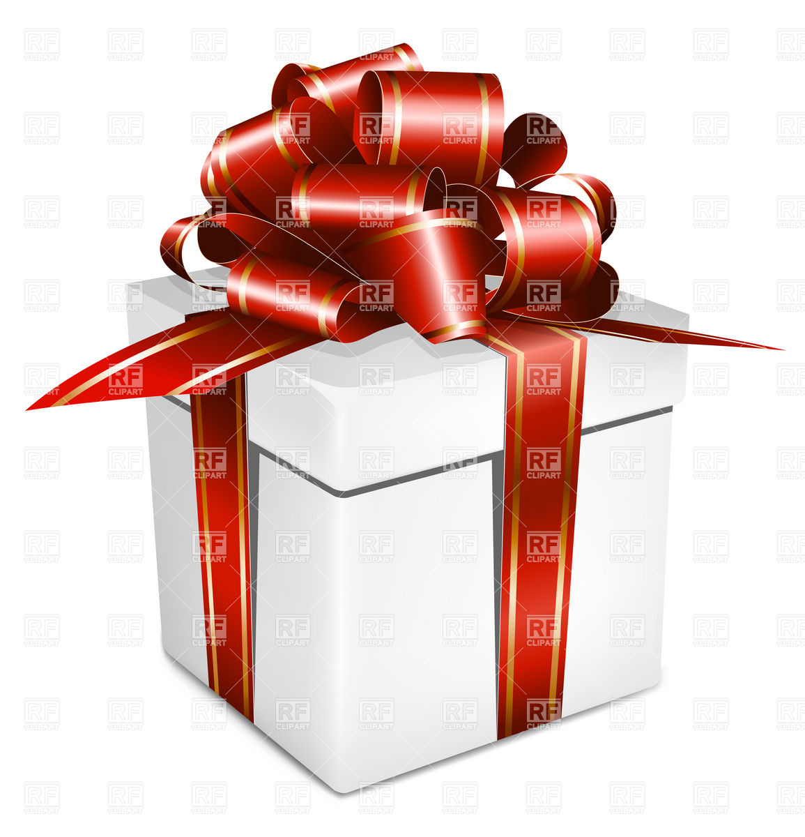 1155x1200 White Gift Box With Red Ribbon And Bow Vector Image Vector