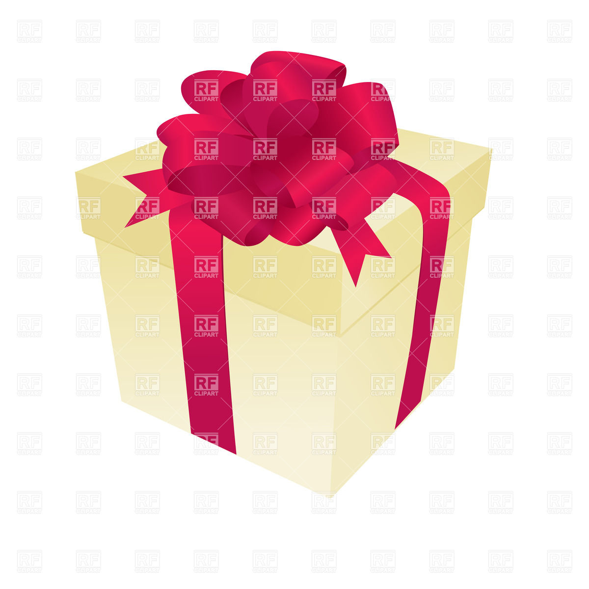 1200x1200 Pastel Gift Box With Red Ribbon And Bow Vector Image Vector