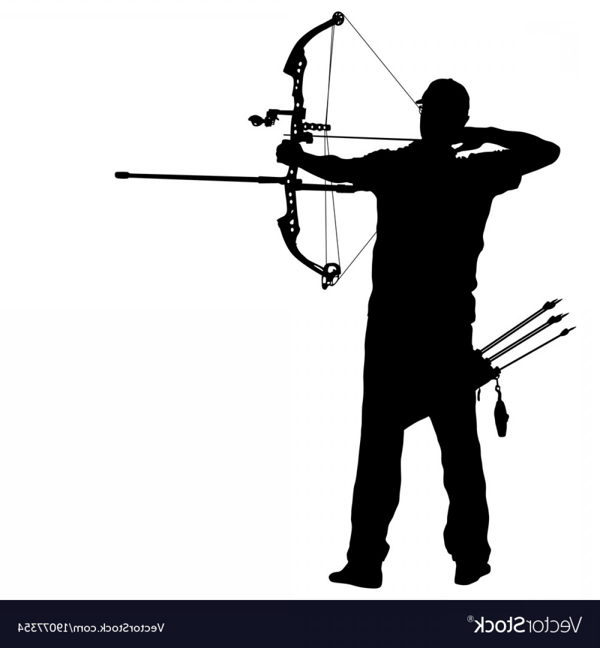 1200x1296 Silhouette Attractive Male Archer Bending A Bow Vector Shopatcloth