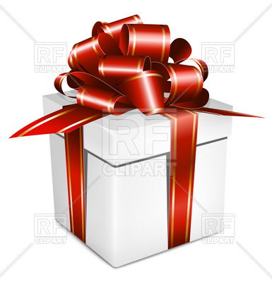 385x400 White Gift Box With Red Ribbon And Bow Vector Image Vector