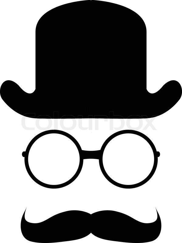 599x800 Bowler Hat Mustache Glasses Stock Vector Colourbox