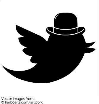 335x355 Download Twitter Bird With Bowler Hat