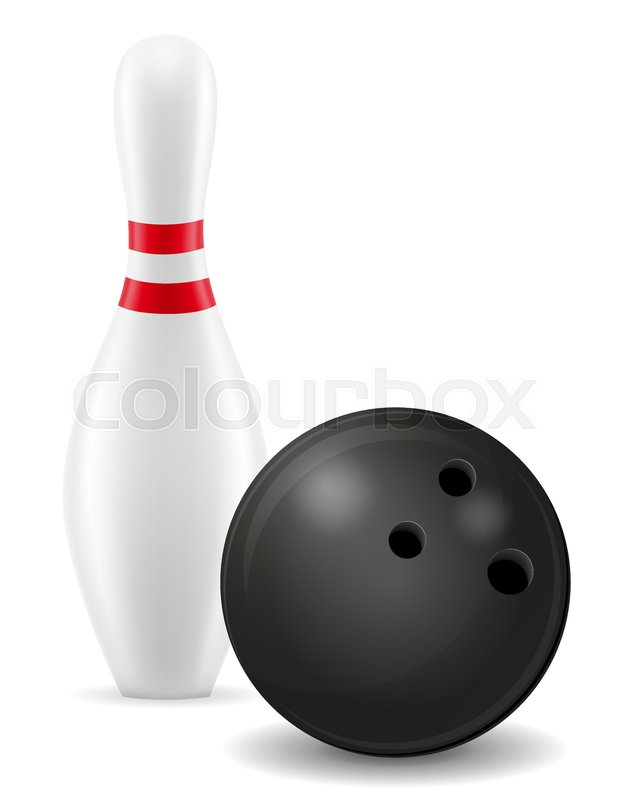 622x800 Bowling Ball And Pin Vector Illustration Isolated On White