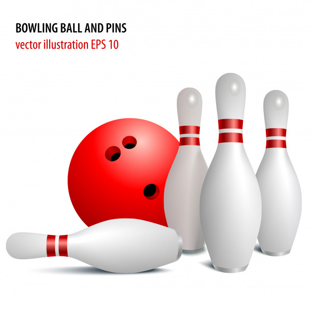626x626 Bowling Ball And Pins Isolated On White Vector Premium Download