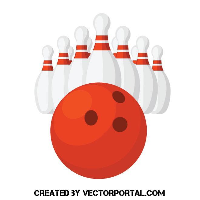 660x660 Bowling Ball And Pins Vector Illustration