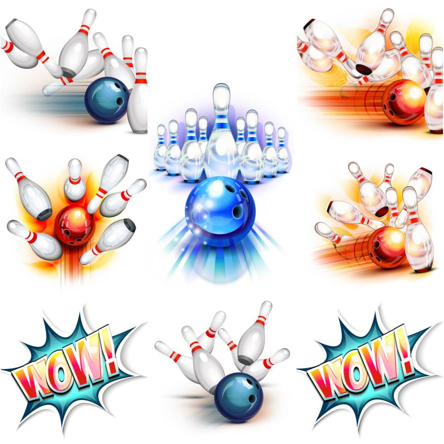 900x900 Bowling Ball Knocking Down Pins Vector Free For Download And Ready