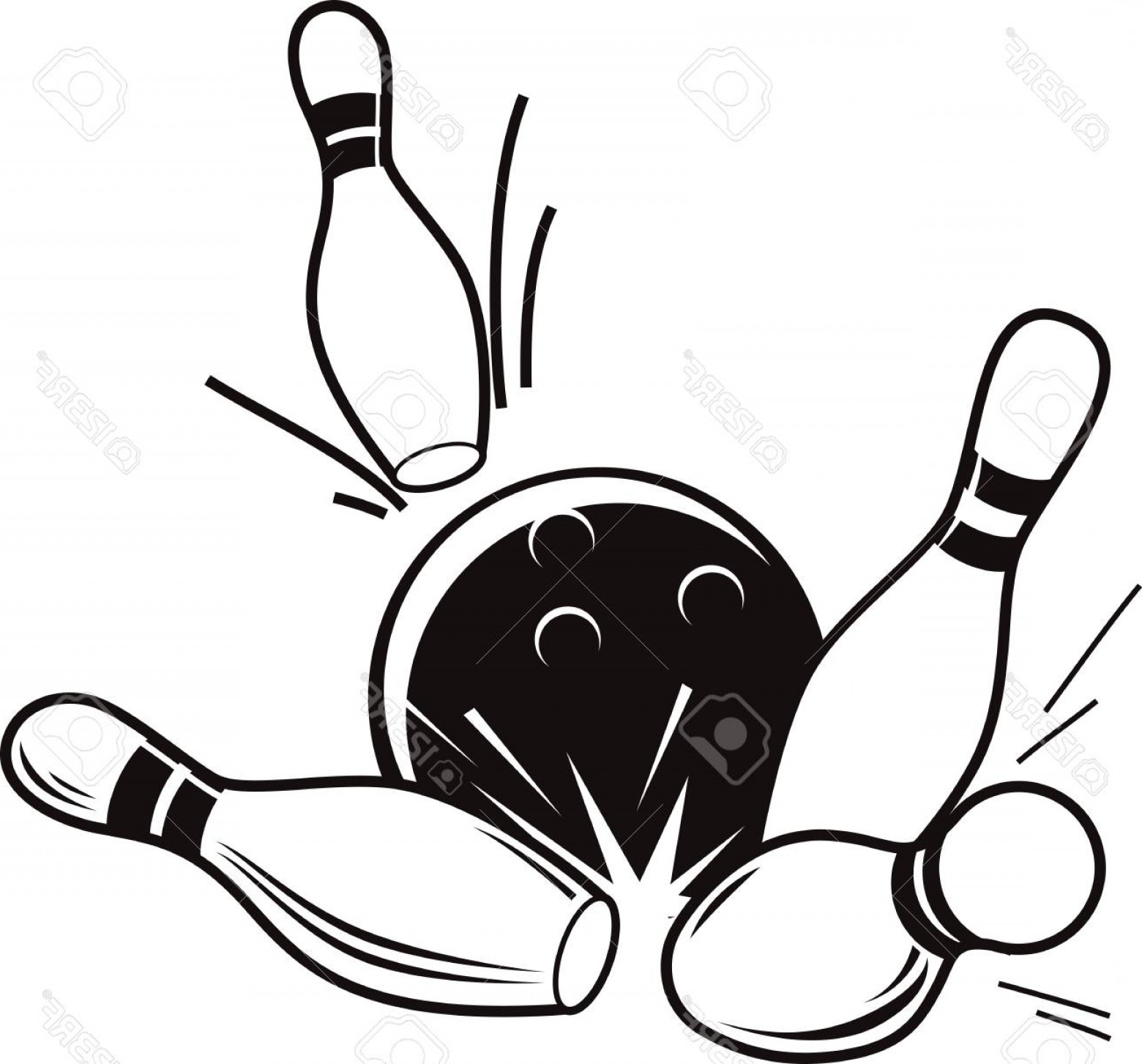 1560x1453 Photostock Vector Vector Black And White Illustration Of Bowling