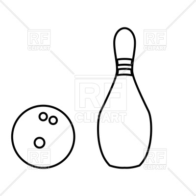 400x400 Pin And Bowling Ball Black Color Icon Vector Image Vector