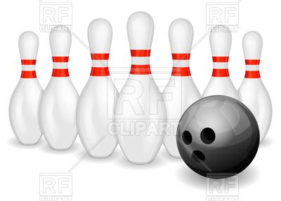 400x286 Row Of Bowling Pins And Black Bowling Ball Vector Image Vector