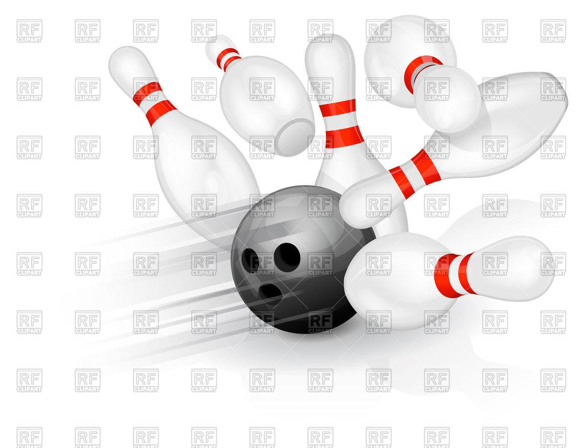 1200x923 Black Bowling Ball Crashing Into The Pins Vector Image Vector