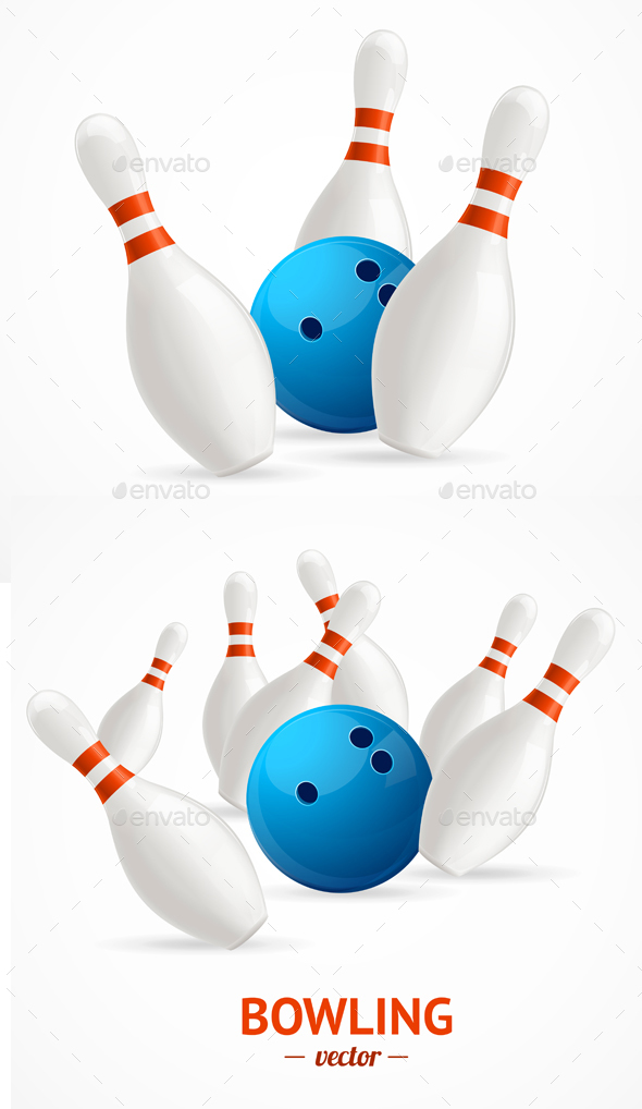 590x1018 Bowling Ball Crashing Into The Pins. Vector By Mousemd Graphicriver