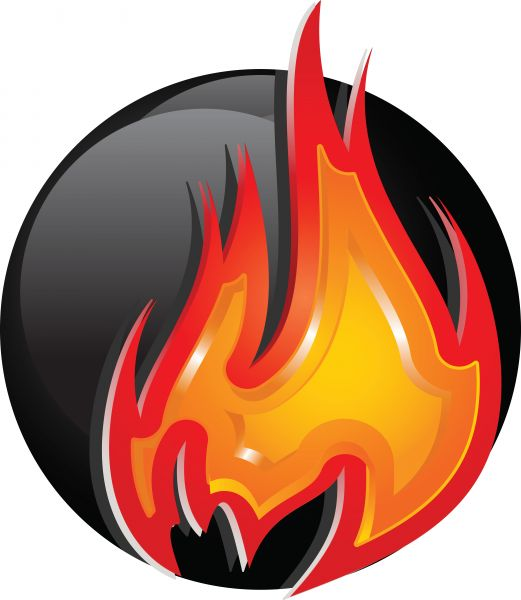 521x600 Red Hot Bowling Ball Vector Image