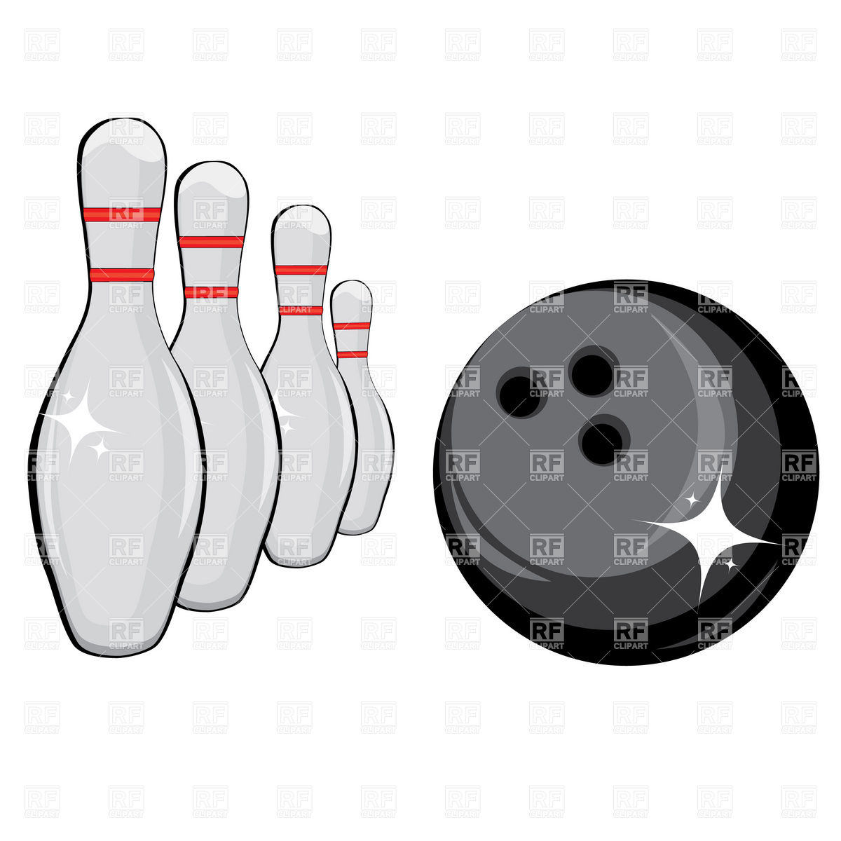 1200x1200 Skittles And Black Bowling Ball Vector Image Vector Artwork Of