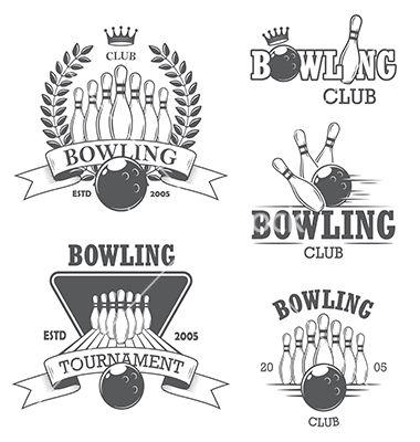 380x400 Bowling Emblems Logos Vector